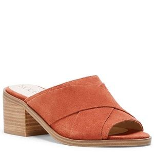 Suede slide sandals, Sole Society; Size 5.5 OR 6.5
